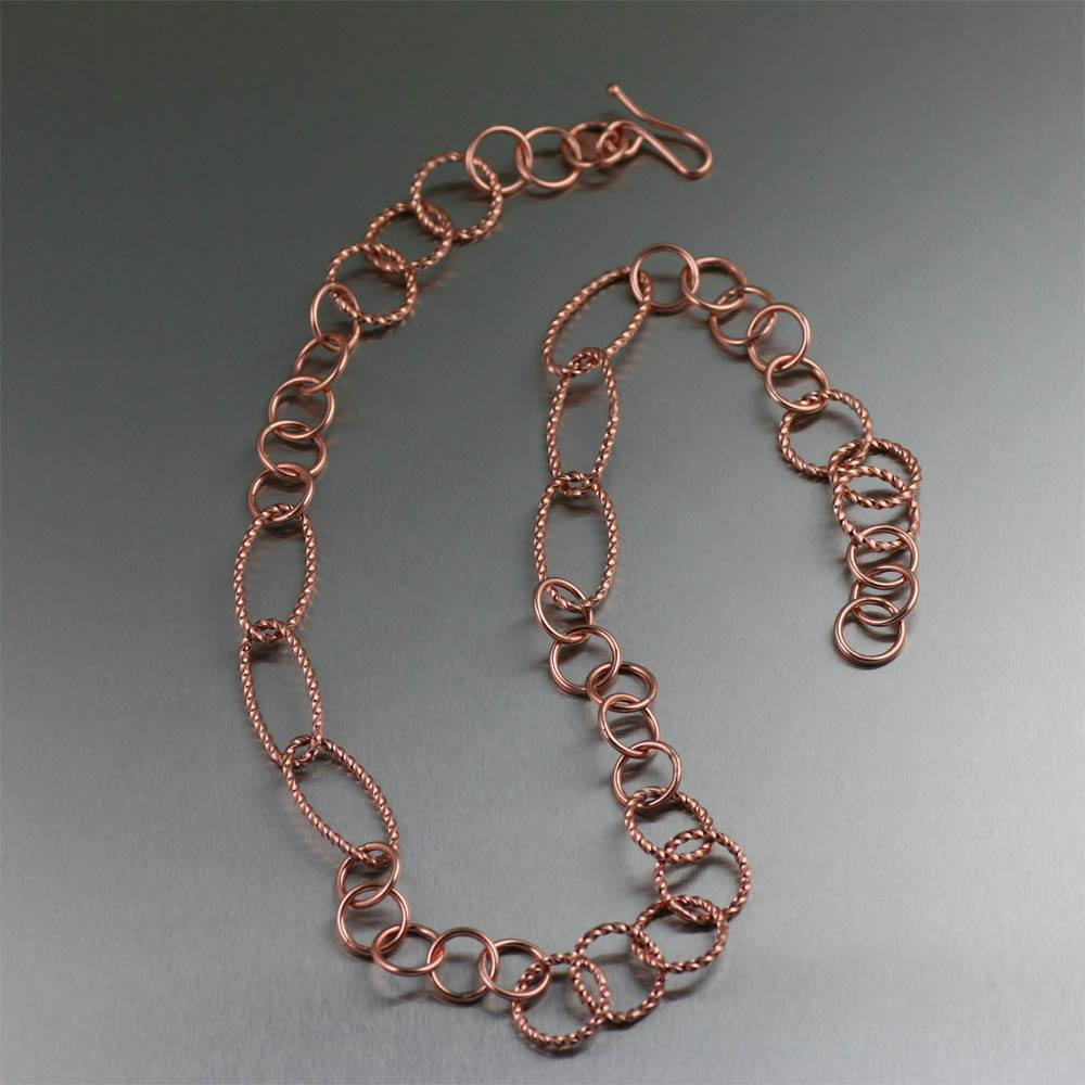 Twisted Cable Copper Link Necklace - johnsbrana