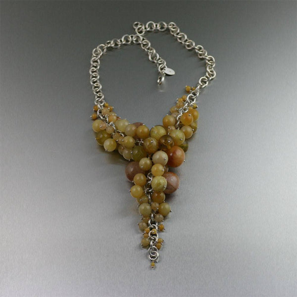 Yellow Jade Chain Maille Necklace - johnsbrana - 1
