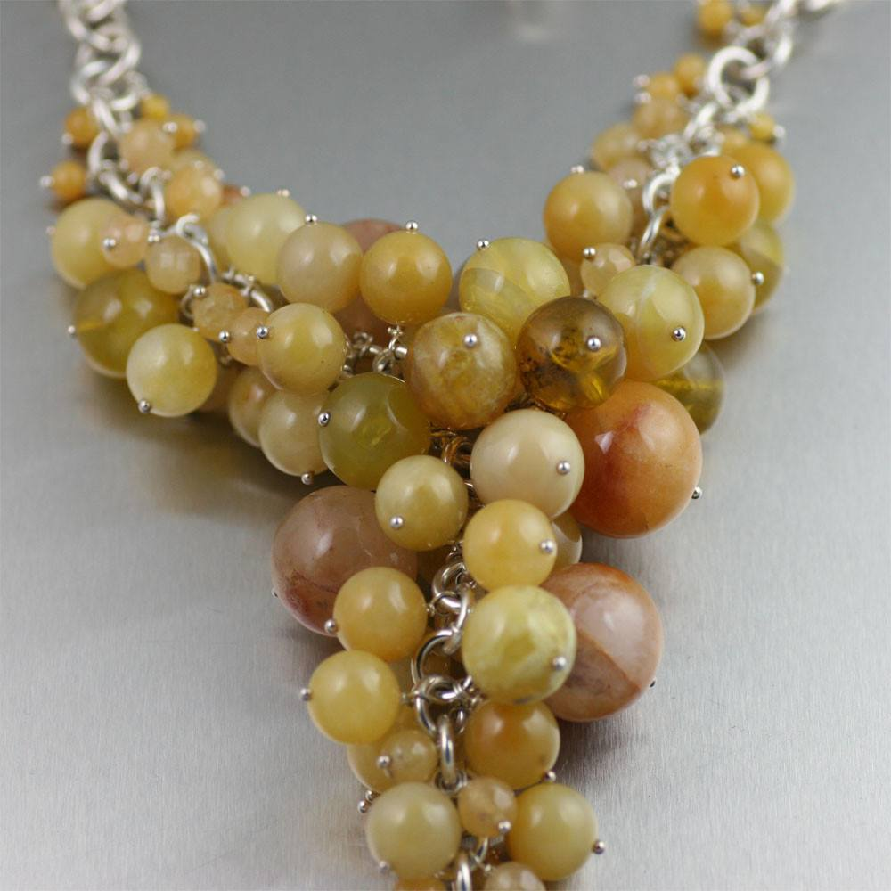 Yellow Jade Chain Maille Necklace - johnsbrana - 2