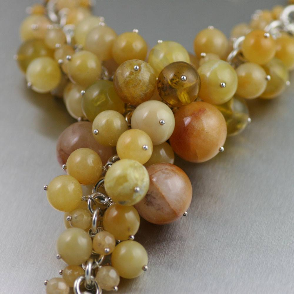 Yellow Jade Chain Maille Necklace - johnsbrana - 3