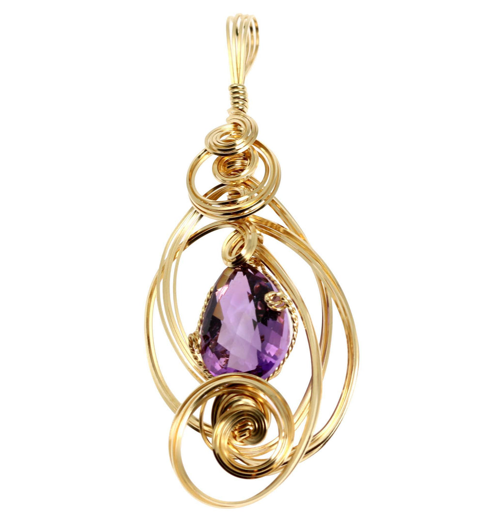 22.5 CT Amethyst 14K Gold-filled Wire Wrapped Pendant - johnsbrana - 1
