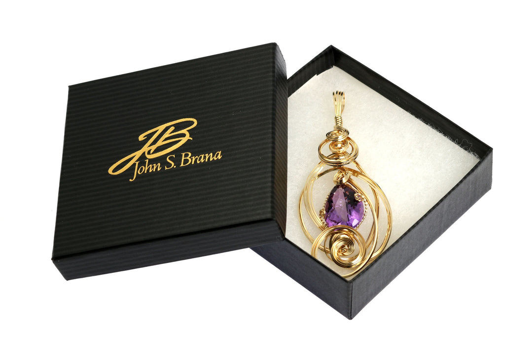 Pendants - 22.5 CT Amethyst 14K Gold-filled Wire Wrapped Pendant