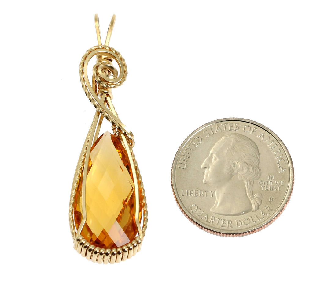 22 CT Citrine 14K Gold-filled Wire Wrapped Pendant - johnsbrana - 2