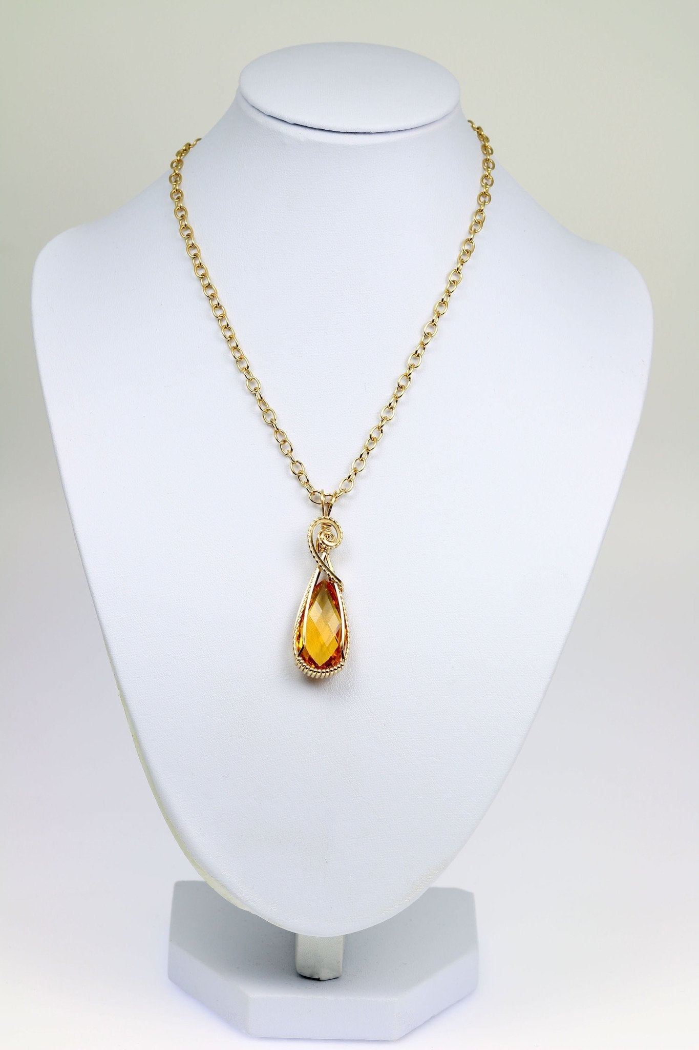 22 CT Citrine 14K Gold-filled Wire Wrapped Pendant - John S Brana ...