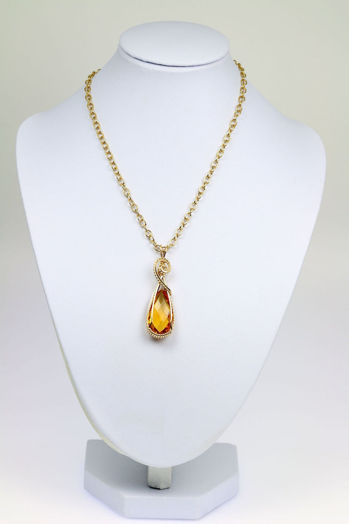 22 CT Citrine 14K Gold-filled Wire Wrapped Pendant - johnsbrana - 3