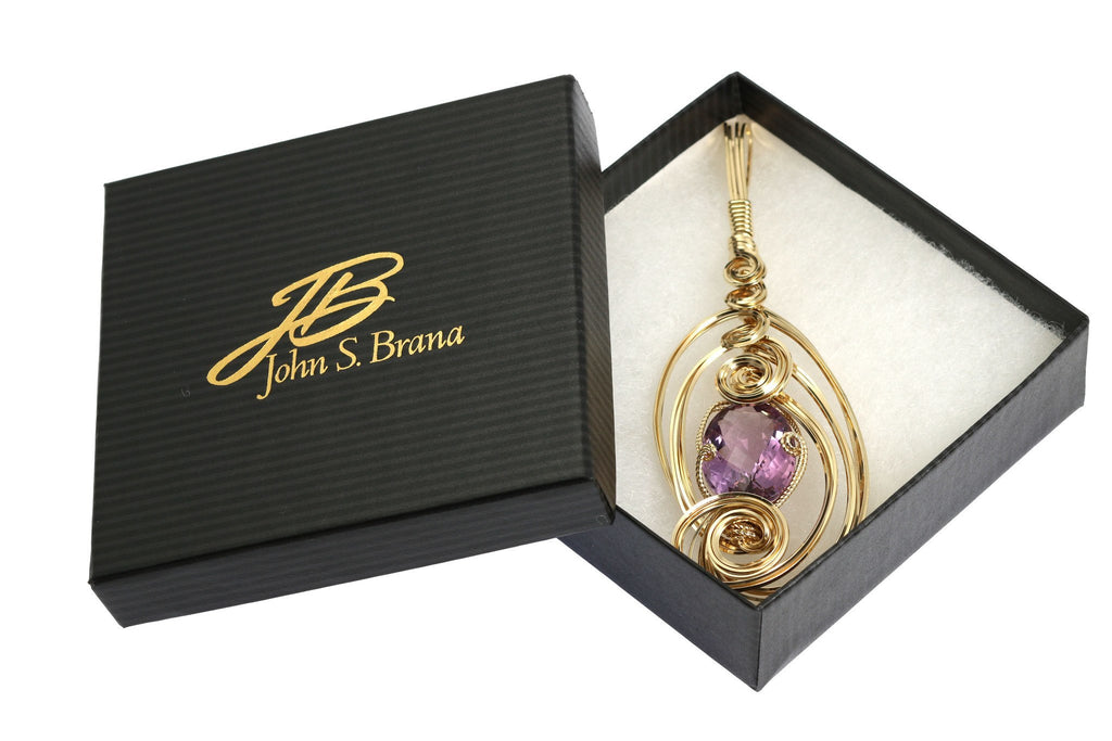 25.5 ct Amethyst 14K Gold-filled Wire Wrapped Pendant - johnsbrana - 4