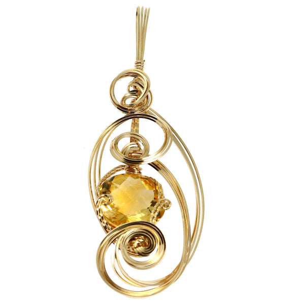 34 CT Citrine 14K Gold-filled Wire Wrapped Pendant - johnsbrana - 1