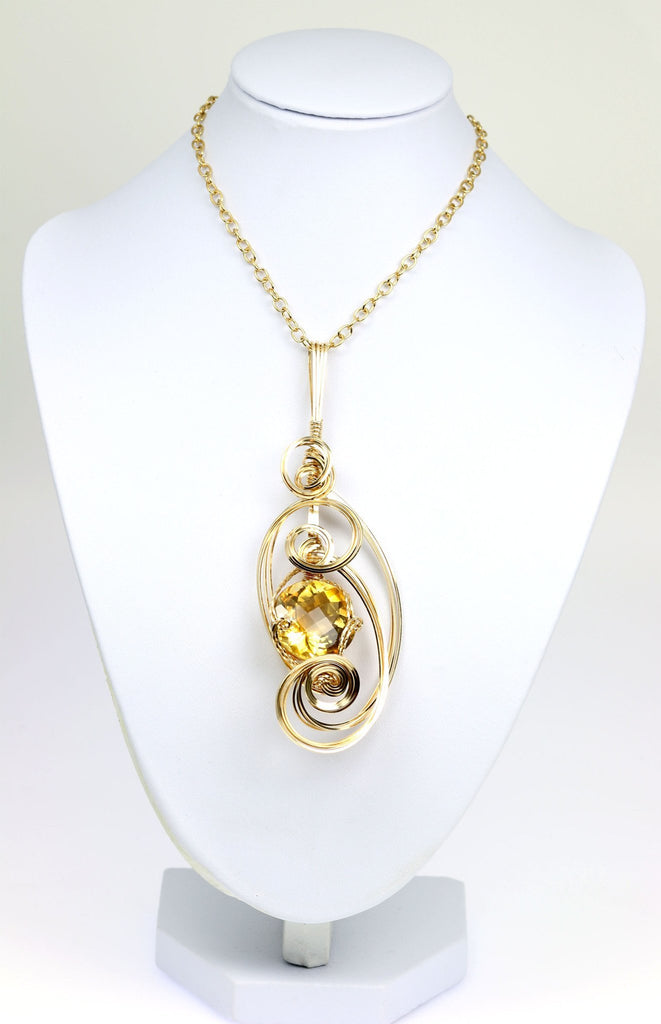 34 CT Citrine 14K Gold-filled Wire Wrapped Pendant - johnsbrana - 3
