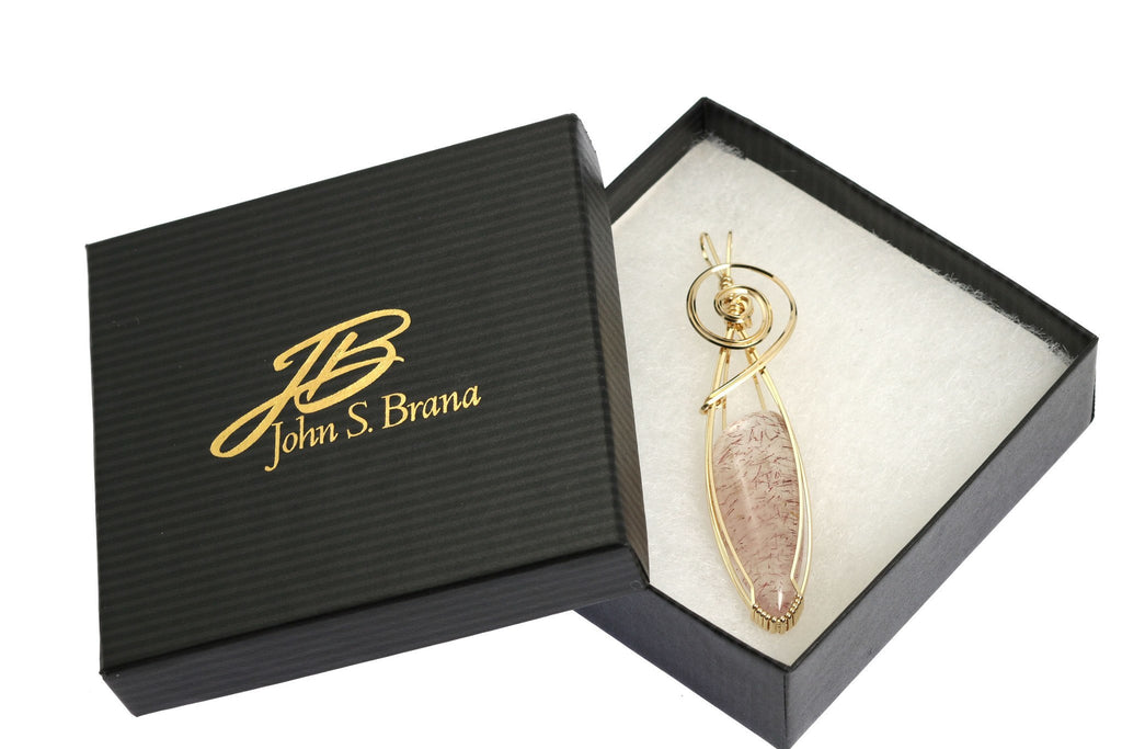40 CT Lepidochrosite 14K Gold-filled Wire Wrapped Pendant - johnsbrana - 4