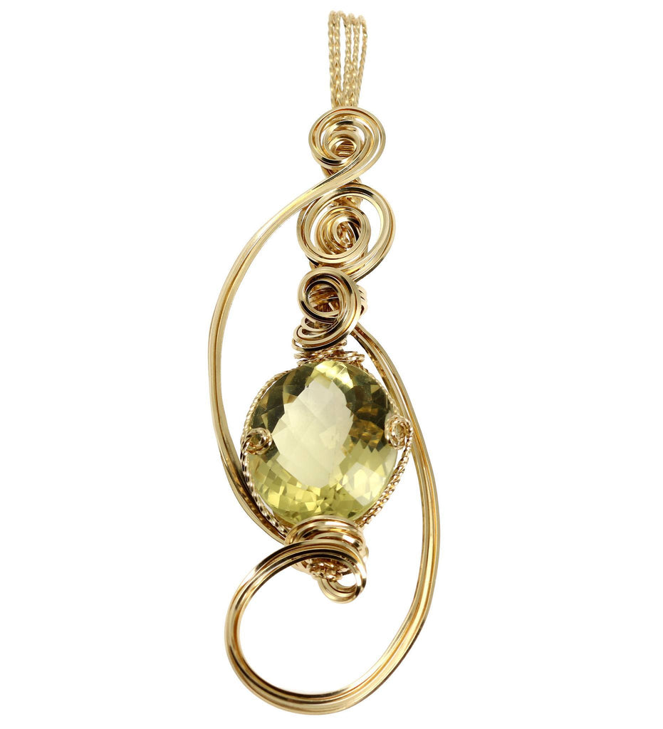 42.5 CT Green Gold Quartz 14K Gold-Filled Wire Wrapped Pendant - johnsbrana - 1