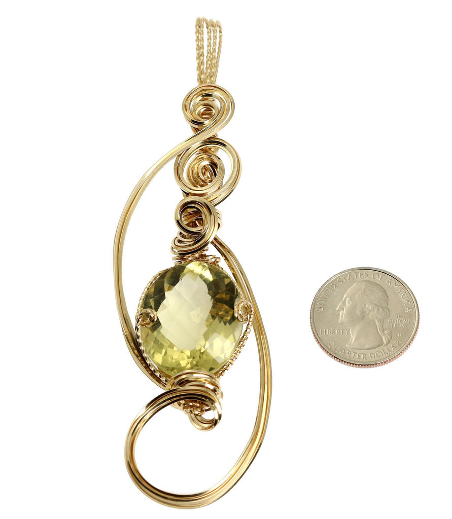 42.5 CT Green Gold Quartz 14K Gold-Filled Wire Wrapped Pendant - johnsbrana - 2