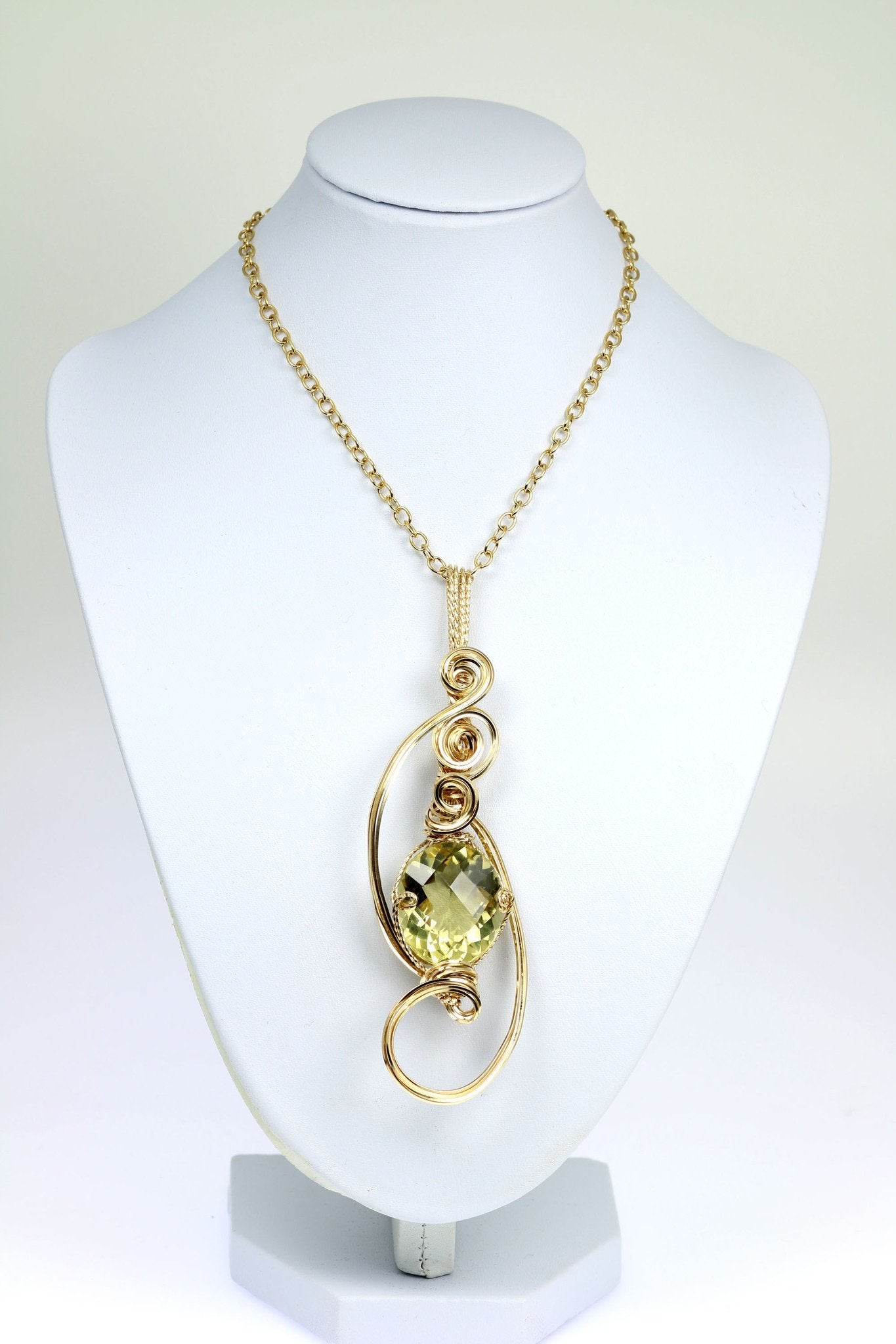 42.5 CT Green Gold Quartz 14K Gold-Filled Wire Wrapped Pendant ...