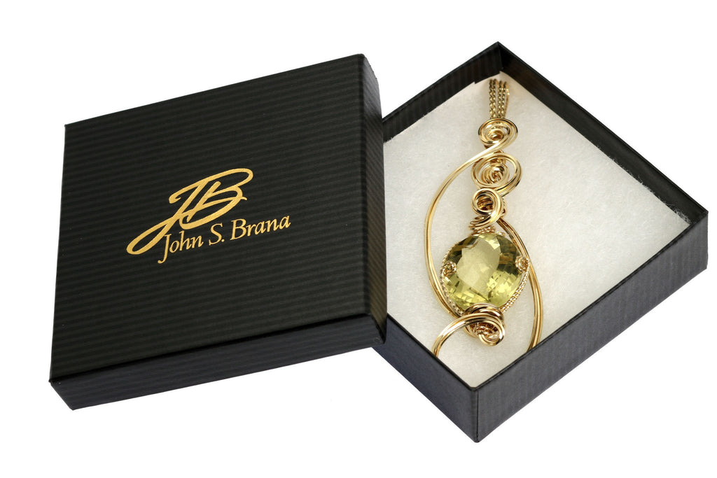 42.5 CT Green Gold Quartz 14K Gold-Filled Wire Wrapped Pendant - johnsbrana - 4