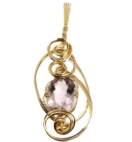 42 CT Cushion Cut Amethyst 14K Gold-filled Wire Wrapped Pendant - johnsbrana - 1