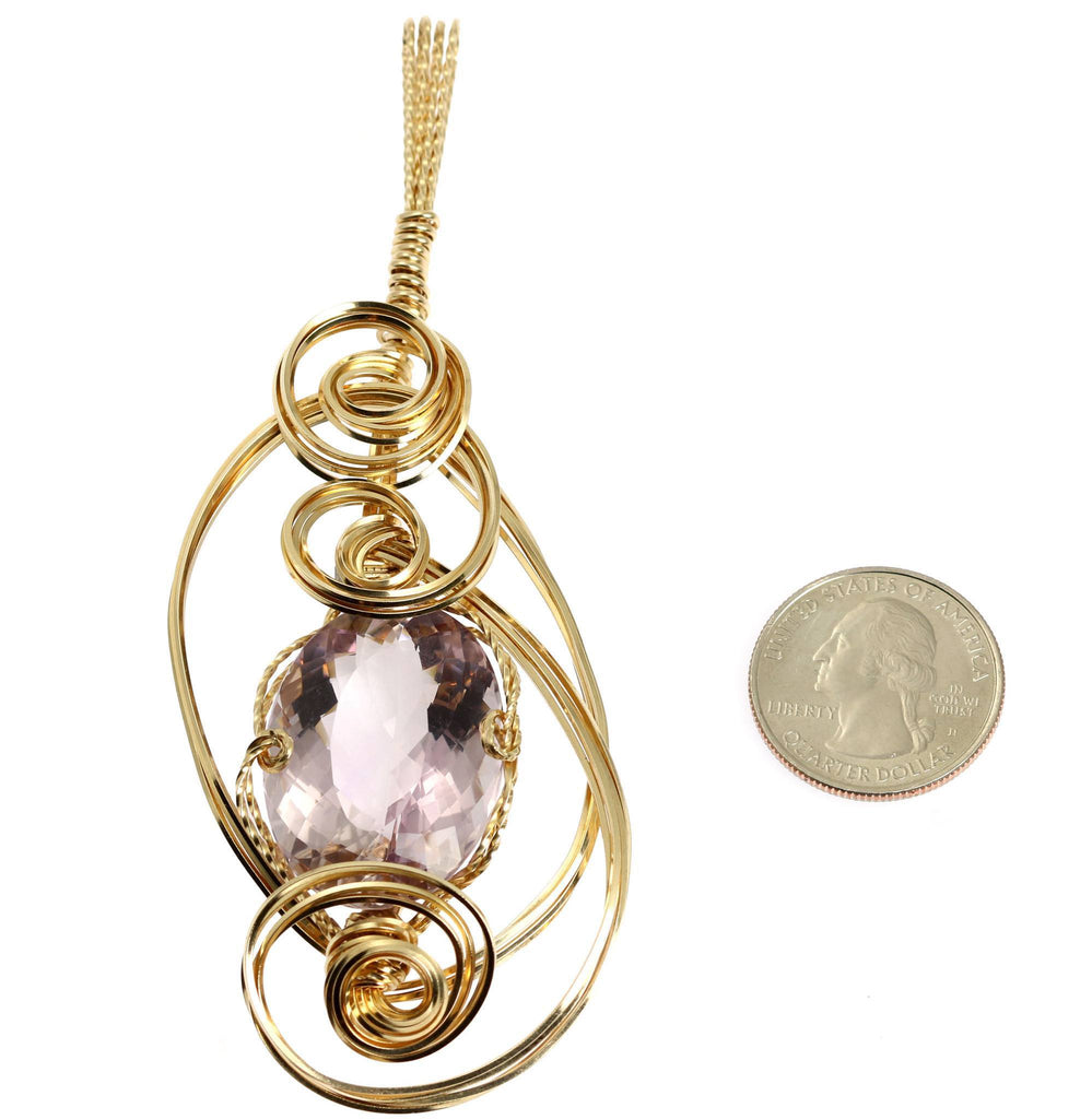 42 CT Cushion Cut Amethyst 14K Gold-filled Wire Wrapped Pendant - johnsbrana - 2