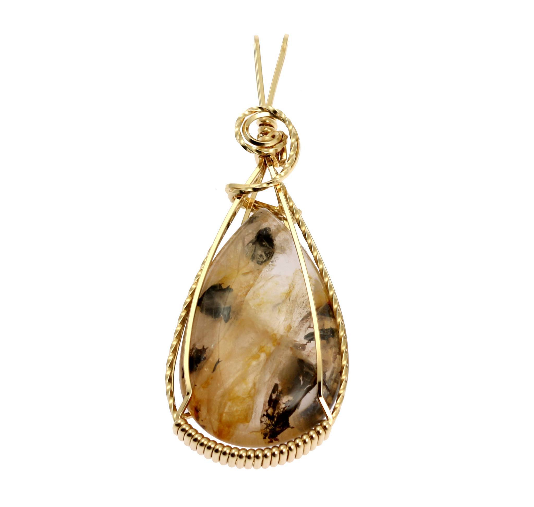 47.5 CT Dendritic Quartz 14K Gold-filled Wire Wrapped Pendant - John ...