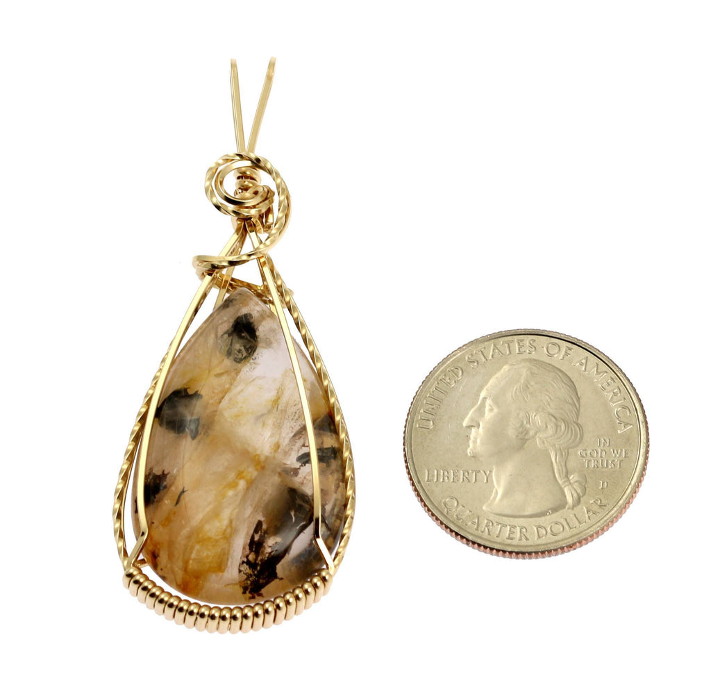 47.5 CT Dendritic Quartz 14K Gold-filled Wire Wrapped Pendant - johnsbrana - 2