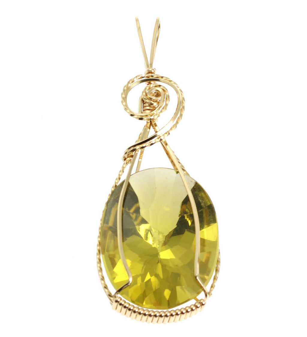 49.5 CT Oval Green Gold Quartz 14K Gold-filled Pendant - johnsbrana - 1