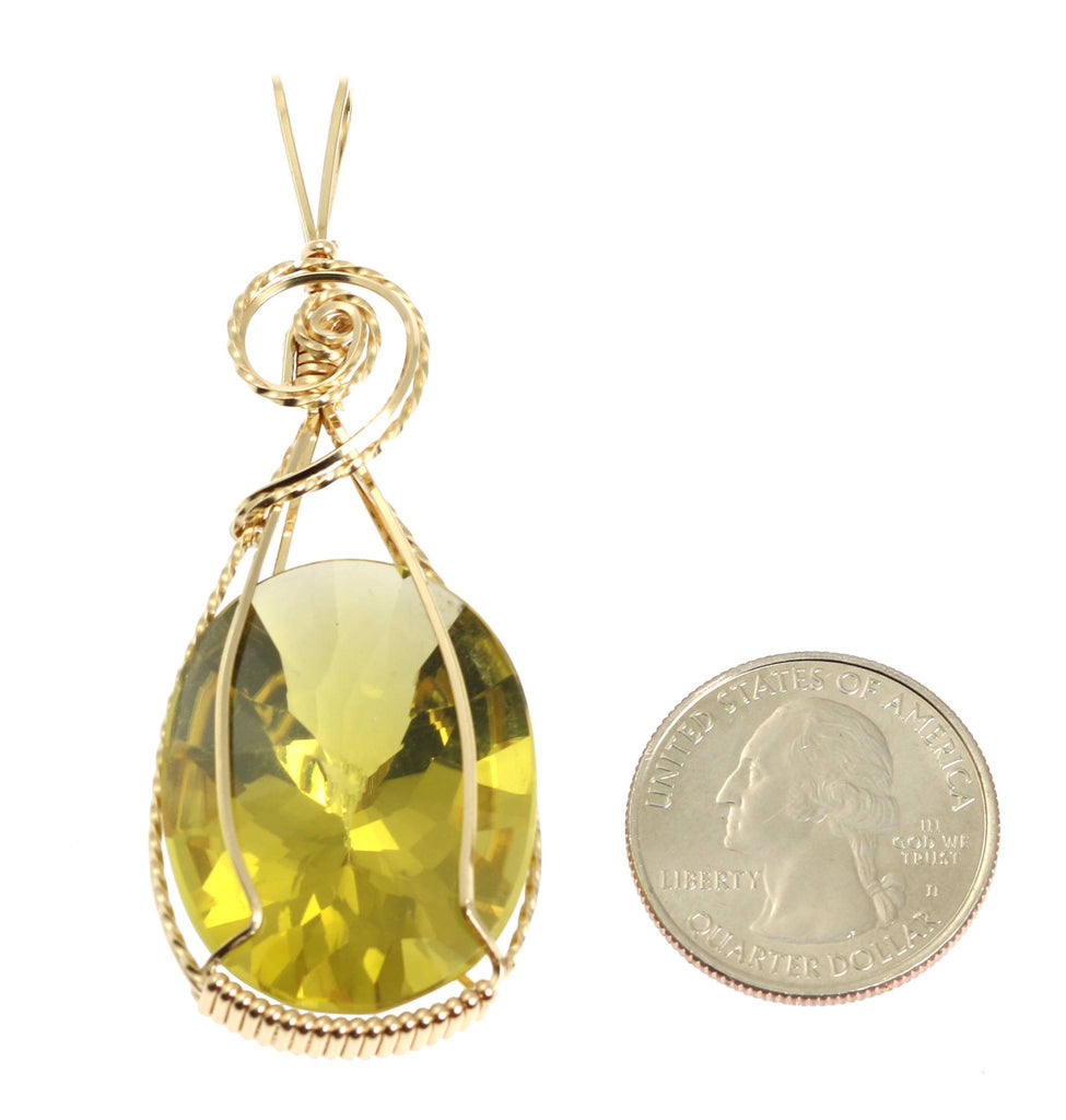 49.5 CT Oval Green Gold Quartz 14K Gold-filled Pendant - johnsbrana - 2