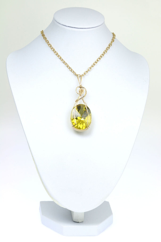 49.5 CT Oval Green Gold Quartz 14K Gold-filled Pendant - johnsbrana - 3