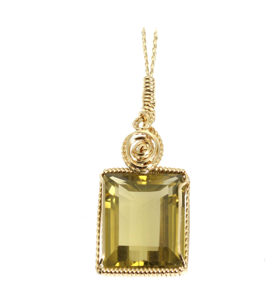 51 CT Emerald Cut Green Gold Quartz 14K Gold-filled Pendant - johnsbrana - 1