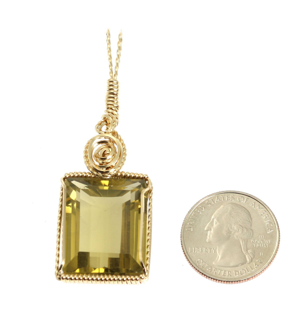 51 CT Emerald Cut Green Gold Quartz 14K Gold-filled Pendant - johnsbrana - 2