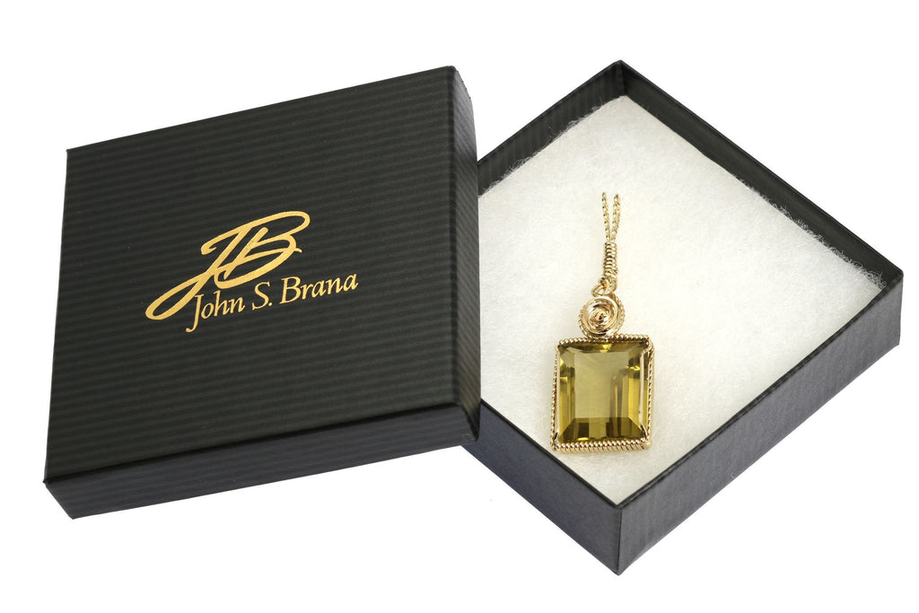 51 CT Emerald Cut Green Gold Quartz 14K Gold-filled Pendant - johnsbrana - 4
