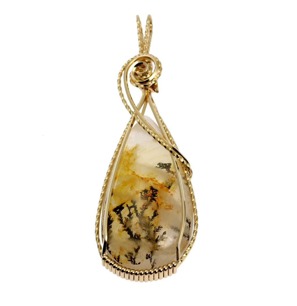 62.5 CT Dendritic Quartz 14K Gold-filled Wire Wrapped Pendant - johnsbrana - 1