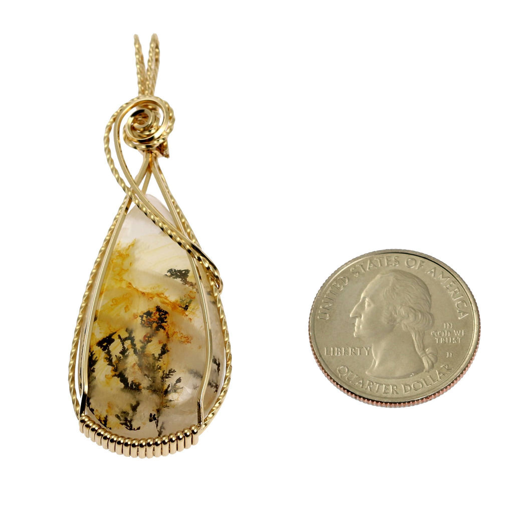 62.5 CT Dendritic Quartz 14K Gold-filled Wire Wrapped Pendant - johnsbrana - 2