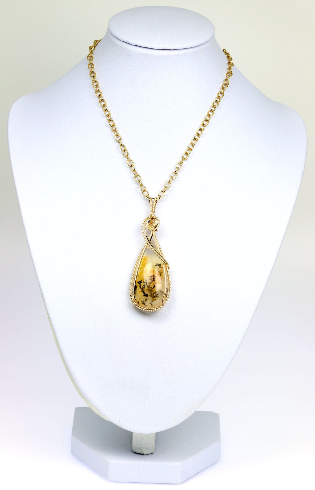62.5 CT Dendritic Quartz 14K Gold-filled Wire Wrapped Pendant - johnsbrana - 3