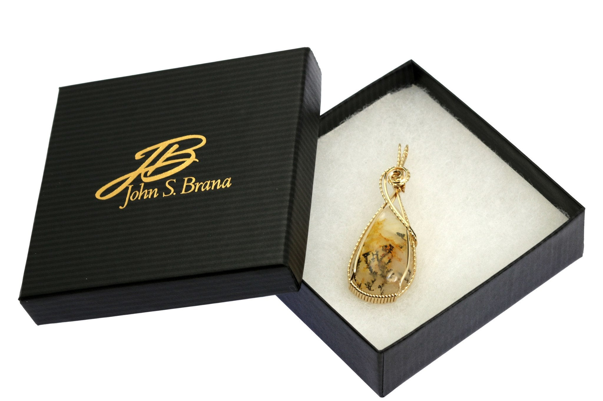 62.5 CT Dendritic Quartz 14K Gold-filled Wire Wrapped Pendant - John ...
