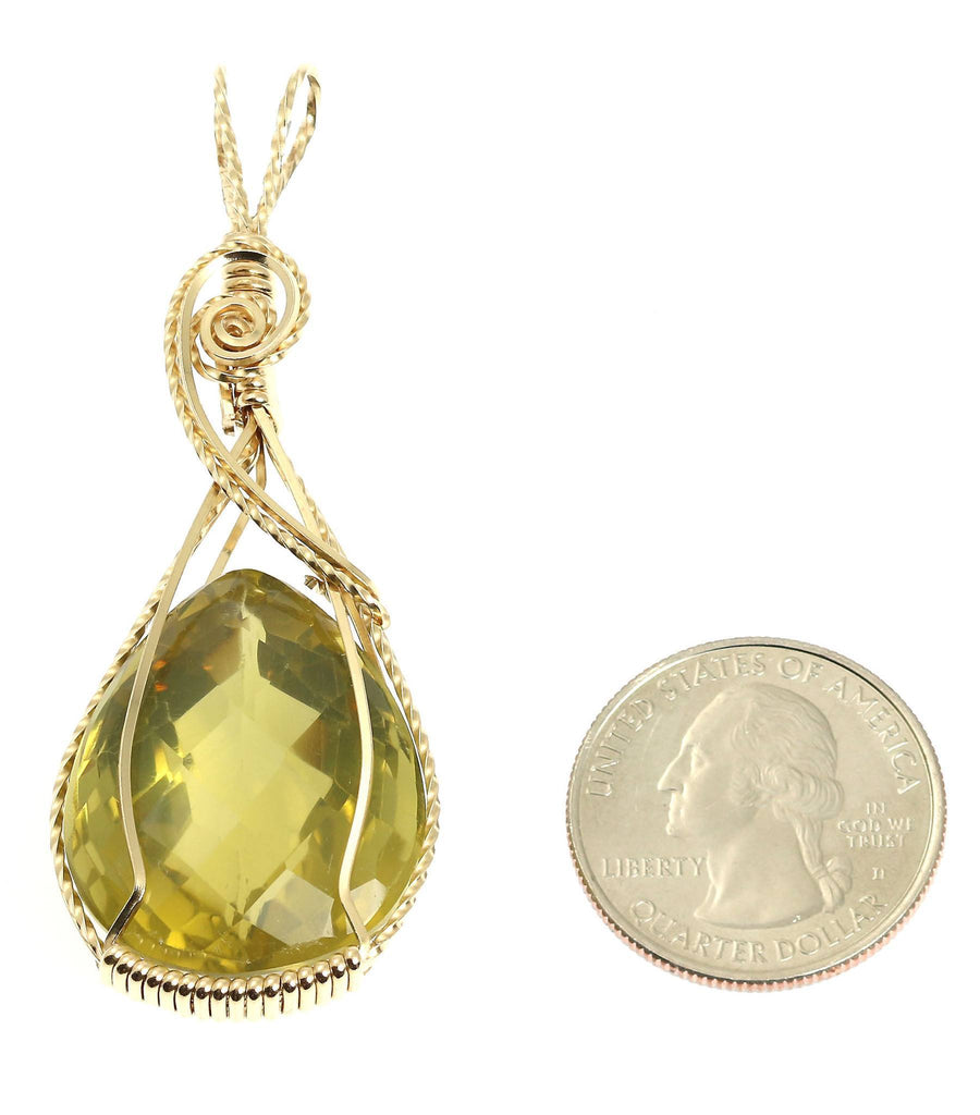 65 CT Green Gold Quartz 14K Gold-filled Pendant - johnsbrana - 2