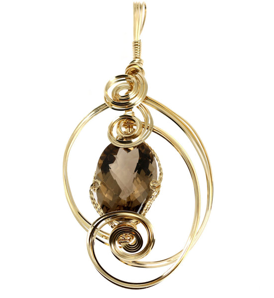 65 CT Smoky Quartz 14K Gold-filled Wire Wrapped Pendant - johnsbrana - 1