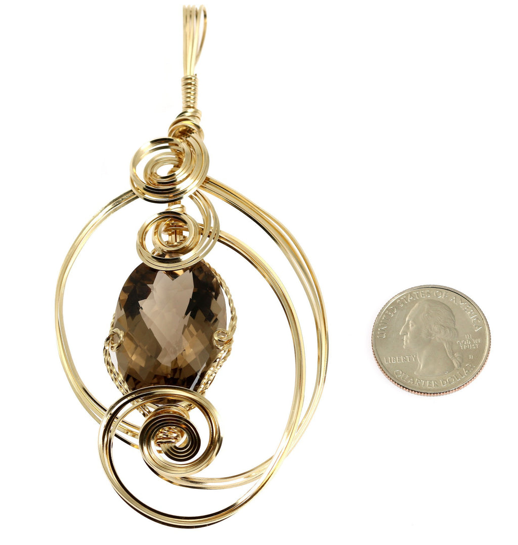 65 CT Smoky Quartz 14K Gold-filled Wire Wrapped Pendant - johnsbrana - 2