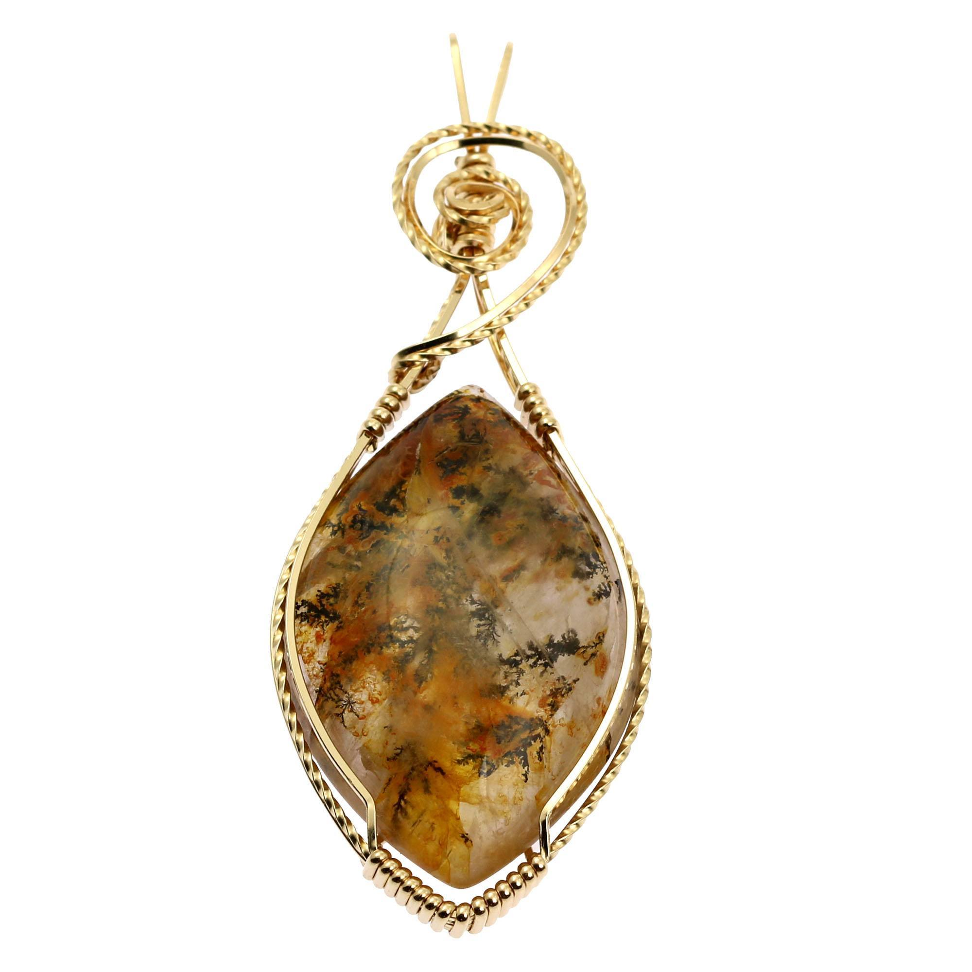 75 CT Dendritic Quartz 14K Gold-Filled Wire Wrapped Pendant - John S ...