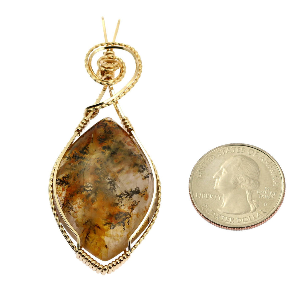 75 CT Dendritic Quartz 14K Gold-Filled Wire Wrapped Pendant - johnsbrana - 2
