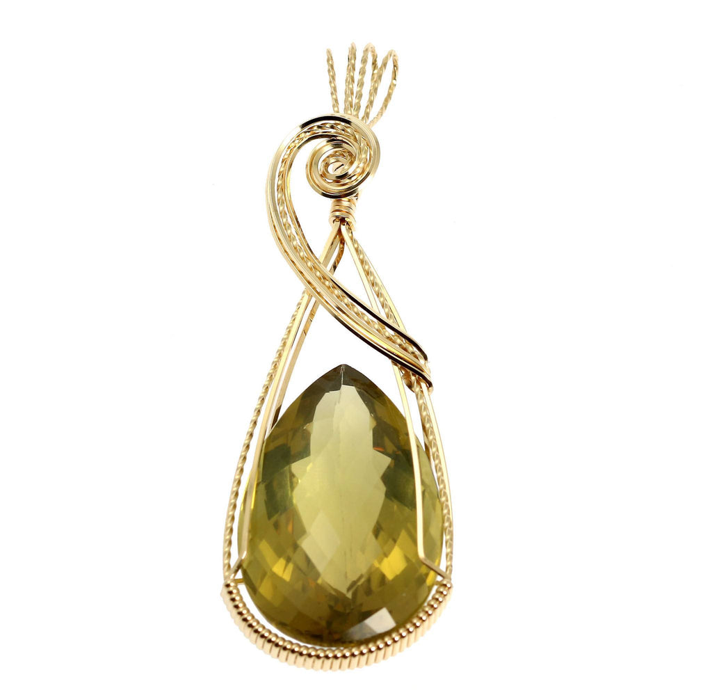 84.5 CT Green Gold Quartz 14K Gold-filled Wire Wrapped Pendant - johnsbrana - 1