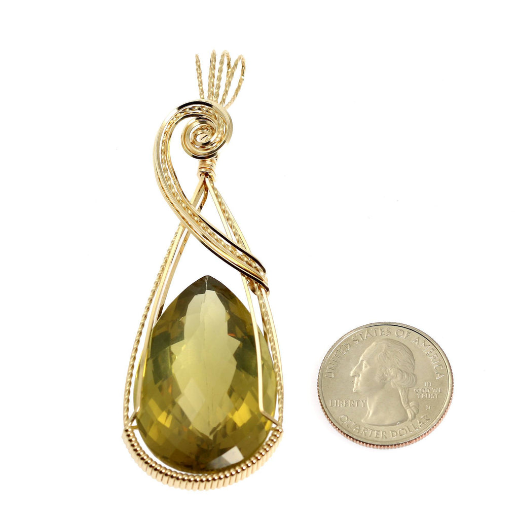 84.5 CT Green Gold Quartz 14K Gold-filled Wire Wrapped Pendant - johnsbrana - 2
