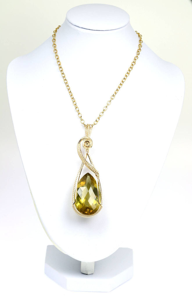 84.5 CT Green Gold Quartz 14K Gold-filled Wire Wrapped Pendant - johnsbrana - 3