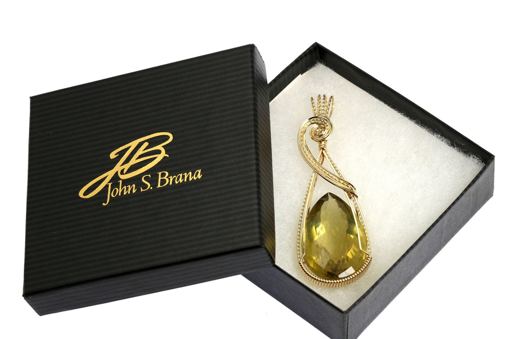84.5 CT Green Gold Quartz 14K Gold-filled Wire Wrapped Pendant - johnsbrana - 4