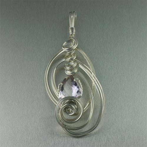 Pendants - Amethyst Sterling Silver Pendant - Trillion Cut