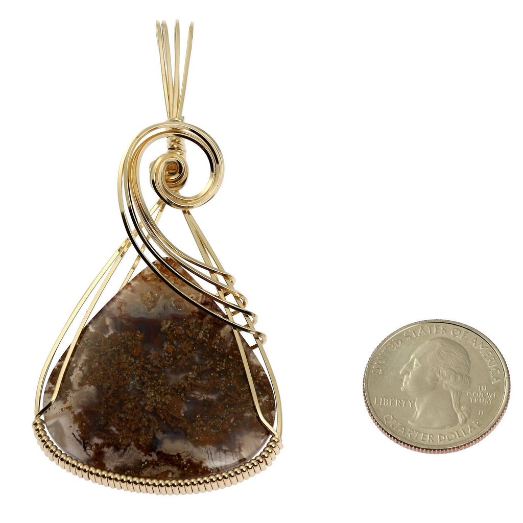 West Texas Agate 14K Gold-filled Wire Wrapped Pendant - johnsbrana - 2