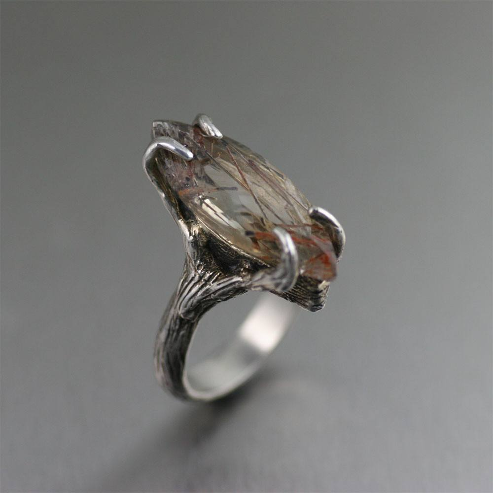 12 CT Marquise Cut Bronze Rutilated Quartz Ring - johnsbrana