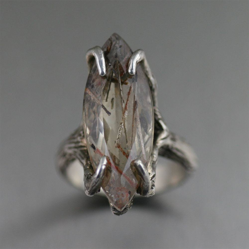 Rings - 12 CT Marquise Cut Bronze Rutilated Quartz Ring