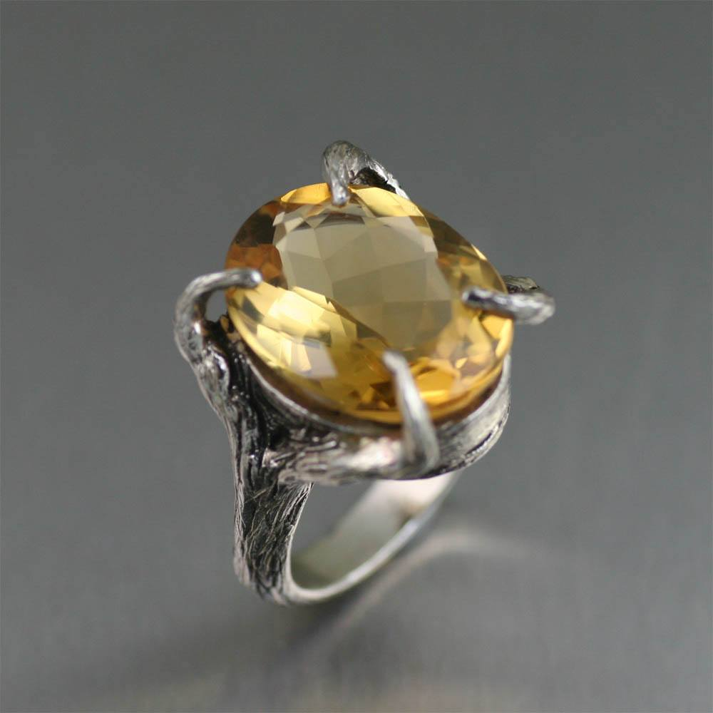 13 ct Cushion Cut Citrine Sterling Silver Cocktail Ring - johnsbrana - 1