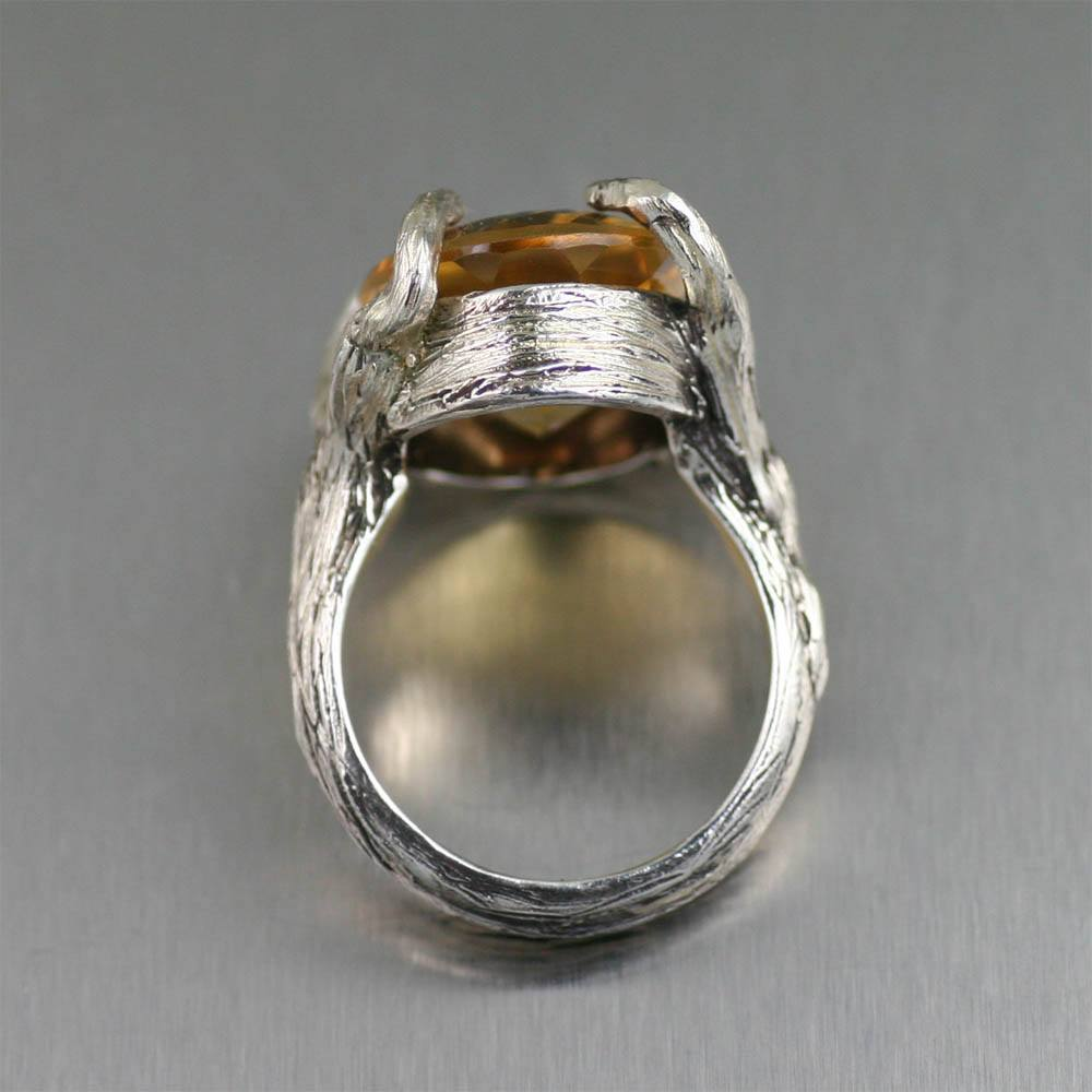 13 ct Cushion Cut Citrine Sterling Silver Cocktail Ring - johnsbrana - 2