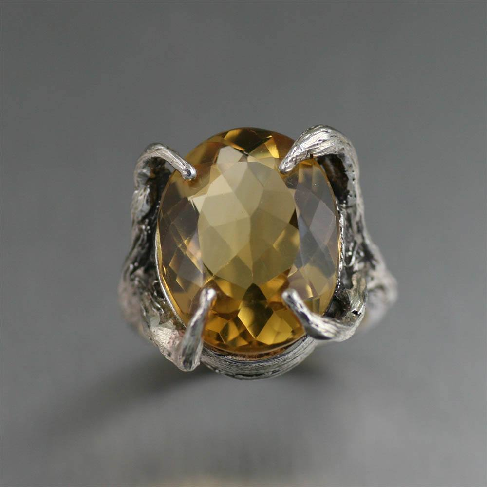 13 ct Cushion Cut Citrine Sterling Silver Cocktail Ring - johnsbrana - 3