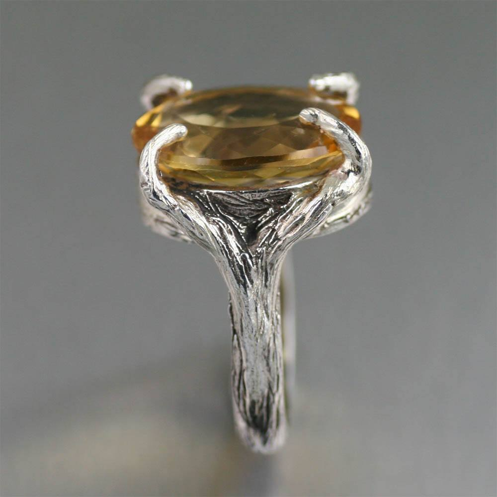13 ct Cushion Cut Citrine Sterling Silver Cocktail Ring - johnsbrana - 4