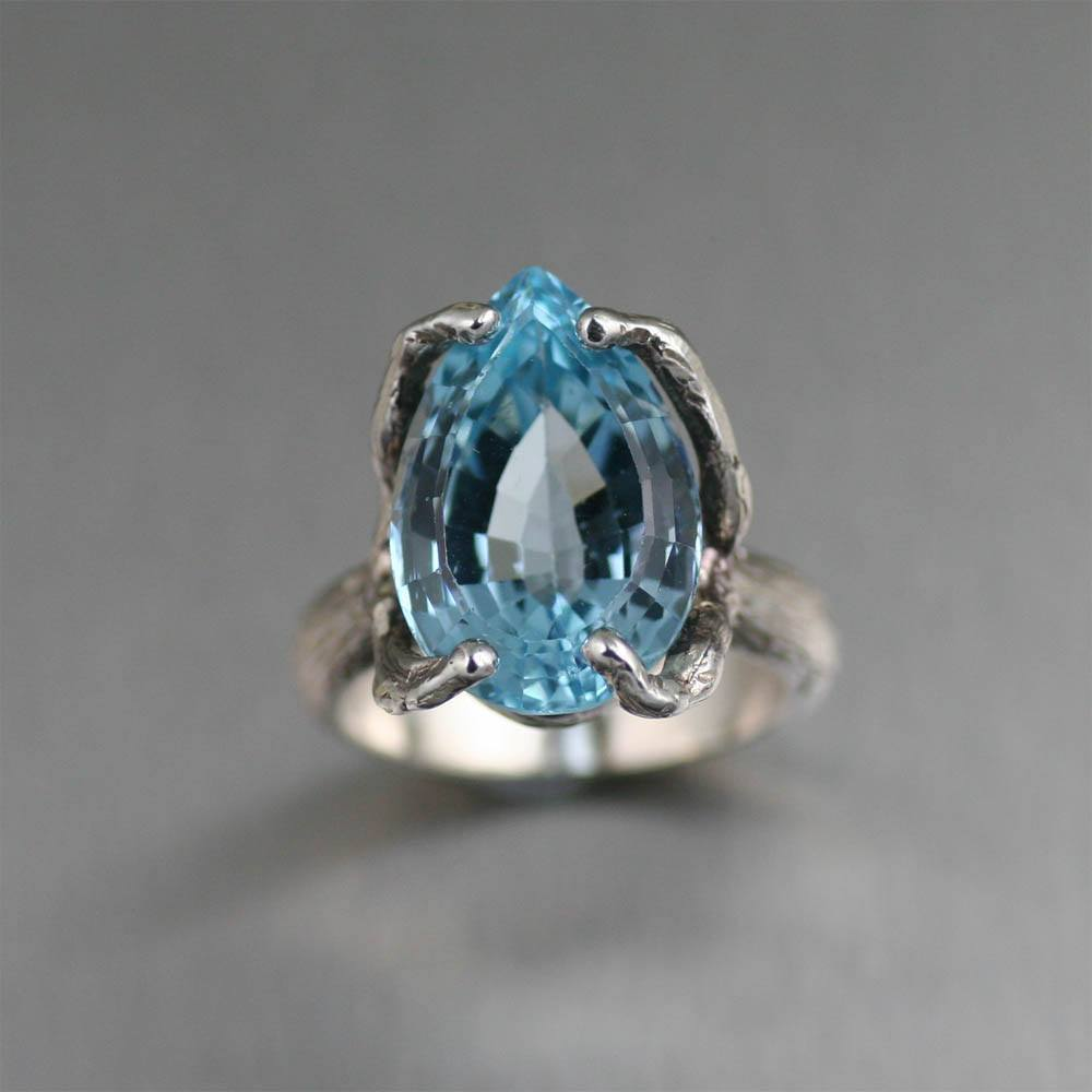 13 ct Pear Cut Blue Topaz Sterling Silver Cocktail Ring - johnsbrana - 2