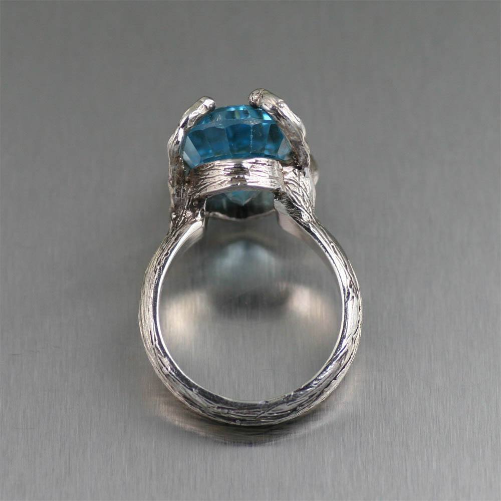 13 ct Pear Cut Blue Topaz Sterling Silver Cocktail Ring - johnsbrana - 3